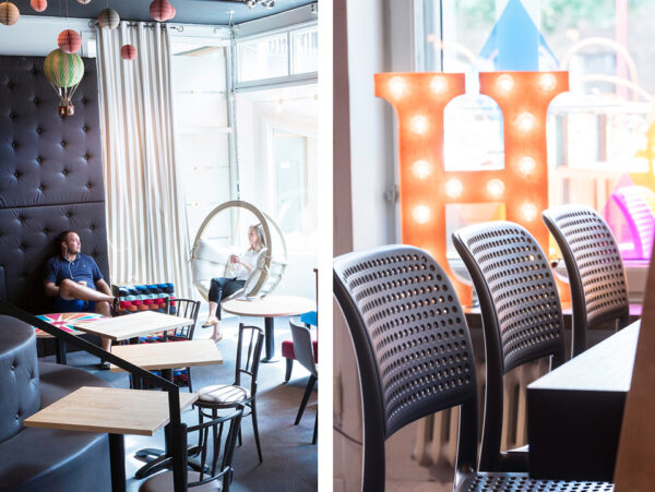 Bild på studenter som sitter i ett cafe